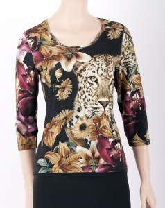 "Shirt ""Leopard and Flowers"""